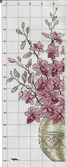 A gentile richiesta.schemi di vasi a punto croce per Lucia / Cross stitch vases and baskets of flowers, charts Cross Stitch Boards, Cross Stitch Love, Cross Stitch Flowers, Cross Stitch Designs, Cross Stitch Patterns, Ribbon Embroidery, Cross Stitch Embroidery, Embroidery Patterns, Le Point