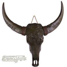 Trend Beeld Stier Schedel Indian Brown CM Zeer gedetailleerd beeld van een stier schedel