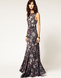 Gestuz Dark Tie dye print silk maxi dress