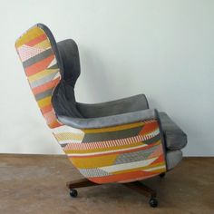 Vintage G Plan Swivel Chair 6250 Wing Chair by FlorrieandBill Teal Upholstery Fabric, Living Room Upholstery, Furniture Upholstery, Chair Fabric, Chair Pads, Upholstery Tacks, Upholstery Cushions, Upholstery Cleaning, G Plan Furniture