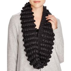 Eileen Fisher Womens Pop-Pom Cable Knit Infinity Scarf