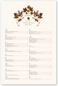 Autumn Leaf Banner Wedding Seating Chart. Replacement for place cards