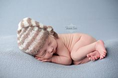 Toffee Brown and Cream Newborn Mohair Pixie Baby Hat | Beautiful Photo Props