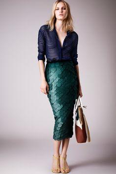Burberry Prorsum Resort 2015 Blue Paillette Pencil Skirt