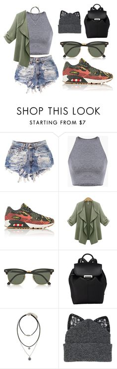 """Denim Shorts Contest"" by tania-alves ❤ liked on Polyvore featuring NIKE, Ray-Ban, Alexander Wang, Forever 21 and Silver Spoon Attire"