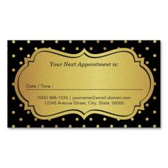 Hair Stylist Appointment - Black Gold Glitter Dots Double-Sided Standard Business Cards (Pack Of 100)