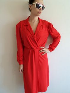 80s Red Day Dress/ Hipster/ Business/ Fuax Wrap by FunkyOldSoul, $18.00