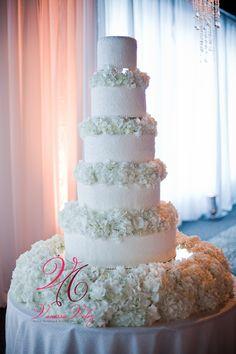 Gorgeous Wedding Cake with fresh white flowers!By Lourdes & Karen Padilla