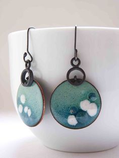 "Enamel Earrings, Medium, dangle, round, fresh, cold color, Turquoise and white Enamels, Sterling silver and copper, ""Lunares earrings"""
