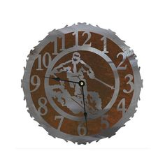 Skier Clock Quarts Movement 12 18 and 28 inch by CabinExclusive