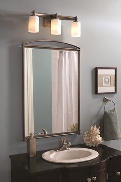 Buy the Quoizel Antique Nickel Direct. Shop for the Quoizel Antique Nickel Taylor 3 Light Wide Bathroom Vanity Light with Glass Cylinder Shades and save. Bathroom Vanity Lighting, Bathroom Styling, Light Bathroom, Vanity Decor, Navy Bathroom, Vanity Ideas, Downstairs Bathroom, Modern Room, Modern Bathroom