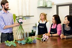Today, it's Florist Friday and I'm thrilled to feature an interview with florist Kally Ellis of McQueens. You may remember that I attended a day at her Flower School earlier this year. Floral Design Classes, Projects To Try, Interview, Green Houses, Friday, School, Greenhouse Apartments, Greenhouses, Conservatory