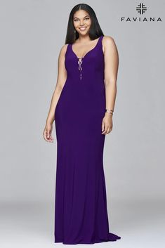 Faviana 9416 Lace-Up Fitted Plus Size Long Formal Dress | Dress Outlet – The Dress Outlet Plus Size Long Dresses, Formal Dresses For Men, Prom Dresses With Sleeves, Formal Prom, Holiday Dresses, Special Occasion Dresses, Full Figure Dress, Faviana Dresses, Grey Fashion