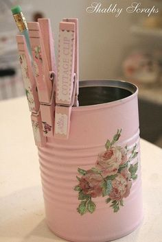 Shabby chic can and pins (mod podged and painted) I really like this idea.. I think I will make several.