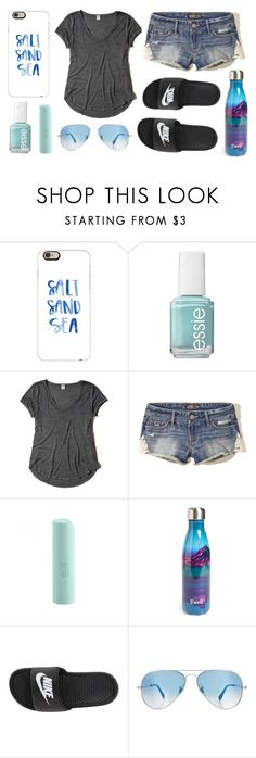 """""""Beaching :P"""" by im-a-jeans-and-boots-kinda-girl ❤ liked on Polyvore featuring Casetify, Essie, Hollister Co., Eos, S'well, NIKE and Ray-Ban"""