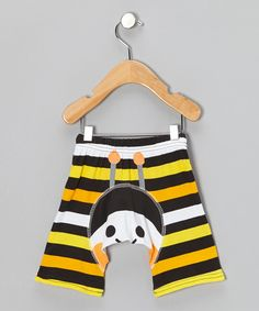 Take a look at this KAZOO Yellow & Black Stripe Bumblebee Shorts - Infant on zulily today!