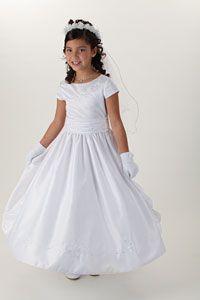 Flower Girl Dresses - Girls Dress Style 3273-WHITE Satin Cap Sleeve Dress with Beaded Embroidery