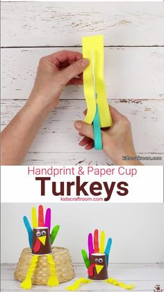This HANDPRINT AND PAPER CUP TURKEY CRAFT is so colourful and fun! These bright and cheery turkeys are perfect as a Thanksgiving craft for toddlers and preschoolers. This simple Handprint Turkey Craft gives young kids the chance to build their fine motor skills with easy cutting, colouring and folding tasks. Their finished turkeys are adorable with handprint tail feathers and wobbly legs! #kidscraftroom #thanksgivingcrafts #thanksgiving #turkeycrafts #papercupcrafts #handprintcrafts… Thanksgiving Crafts For Toddlers, Halloween Crafts For Toddlers, Toddler Crafts, Diy Crafts For Kids, Paper Cup Crafts, Craft Stick Crafts, Preschool Crafts, Paper Craft, Creative Arts And Crafts