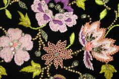 Detail of the embroidery from the Christian Lacroix Embroidered Velvet Cocktail Dress.
