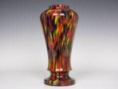 Ruckl spatter glass vase Bohemian Art, Czech Glass, Glass Art, Vase, Artwork, Red, Decor, Work Of Art, Decorating