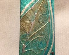"""Teal & Silver Leaf Wood Pin, 1 X 2"""", Hand Painted Metallic Finish"""