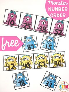 Monster Order the Numbers - The Stem Laboratory Kindergarten Freebies, Numbers Kindergarten, Kindergarten Centers, Math Numbers, Math Centers, Classroom Freebies, First Grade Activities, 1st Grade Math, Math Activities