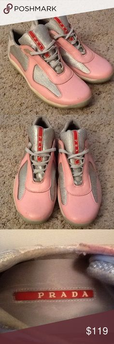 PRADA AMERICAN CUP PINK LEATHER MESH SNEAKERS, 39 PRADA sz 39 American Cup pink leather and mesh sneakers.  Excellent preowned condition, minor wear.  Really pretty and unique!  Great sneakers,  Will ship right away.  Check out my other designer items Prada Shoes Athletic Shoes