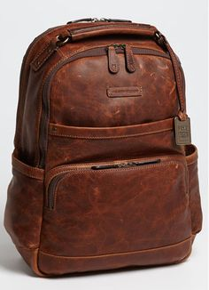 vintage brown leather backpack