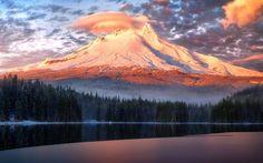 Mountains, forest, lake, sunset, evening, Trillium Lake, Oregon