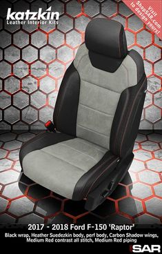 K1174-100 - This is a 2018 Ford F-150 Raptor seat with Black wrap, Heather Suedezkin body, perf body, Carbon Shadow Vinyl wings, Medium Red contrast all stitch, Medium Red piping. #Katzkin #F-150 #Raptor Interior Trim, Leather Interior, Ford F150 Custom, 2018 Ford F150, American Racing Wheels, Automotive Upholstery, Leather Seat Covers, Custom Consoles, Rattan Armchair