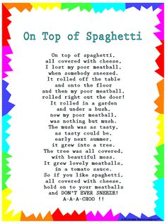 "Silly Songs: Lyrics for ""On Top of Spaghetti"" with a Learn Along Video grandparents day printables, deadbeat grandparents quotes, grandparents day books Kindergarten Songs, Preschool Music, Preschool Learning, Preschool Ideas, Movement Songs For Preschool, Circle Time Ideas For Preschool, Transition Songs For Preschool, Feelings Preschool, Songs For Toddlers"