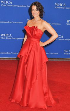 Bellamy Young at the 2014 White House Correspondents' Dinner. Scandal's favorite First Lady wore a bold cherry-colored Romona Keveza dress with a Jimmy Choo clutch. LOVE her. LOVE this dress.