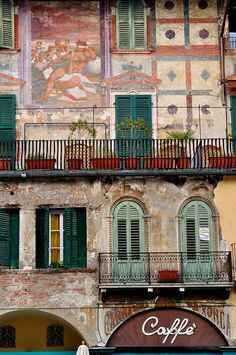 #Verona - Piazza delle Erbe by bautisterias - what I would give to be sitting on one of those balconies with a fresh cup of coffee