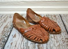 Vintage Woven Leather Sandals - Brown Leather Huaraches Sandals - Vintage Womens Shoes
