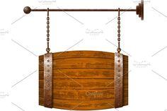 Barrel shaped wooden signboard Graphics Barrel shaped wooden signboard on rusty chains by Swillklitch