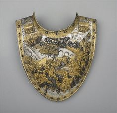 Gorget, composed of two plates, c.1610 (iron or steel, gold, copper alloy and silver)