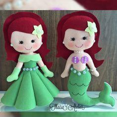 Pequena sereia Ariel de feltro