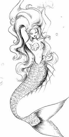 Sexy Mermaid Tattoo Drawing