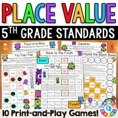 Place Value Games: Grade Math Centers. by Games 4 Gains 2nd Grade Math Games, Fourth Grade Math, Subtraction Games, Addition And Subtraction, Place Value Games, Worksheets, Operation Game, Math Homework Help, Fraction Games
