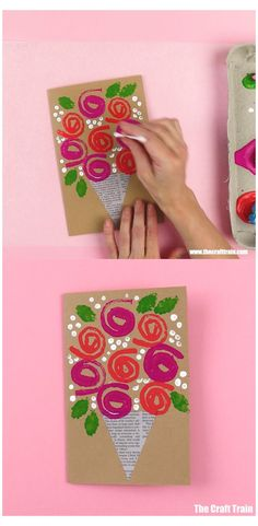 Easy Mother's Day Crafts, Mothers Day Crafts For Kids, Diy Mothers Day Gifts, Diy Crafts For Kids, Mothers Day Cards Craft, Diy Gifts For Grandma, Diy Niños Manualidades, Mother's Day Diy, Flower Crafts