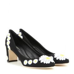 Dolce & Gabbana - Embroidered pumps - Dolce & Gabbana opts for playful femininity with these floral pumps. Crafted in Italy, they come with a modest block heel and bright white daisy embroidery. Add a summery spring to your step with this lovely duo. seen @ www.mytheresa.com