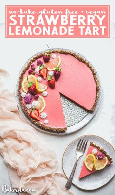This Vegan Strawberry Lemonade Tart is a no-bake, gluten-free and paleo recipe made with loads of fresh strawberries and lemons. The scrumptious agar-thickened filling plays perfectly with the date-sweetened hazelnut crust. Vegan Dessert Recipes, Köstliche Desserts, Vegan Sweets, Gluten Free Desserts, Healthy Desserts, Delicious Desserts, Easy Tart Recipes, Cooking Recipes, Kitchen Recipes