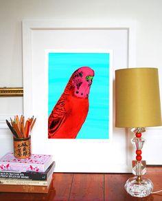 Evie Kemp print - Budgie at Wanda Harland Ohh Deer, Aqua Background, Apartment Interior Design, Budgies, Secret Santa, Evie, Paper Goods, Stationery, Prints