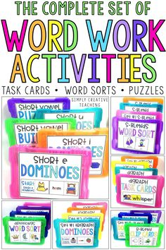 Engage kindergarten, first grade, & 2nd grade students with these easy hands on word work centers! These literacy stations include word sorts for pocket charts, fun games, & hands on puzzles for independent, small groups, or reading groups to use during language arts or Daily 5. Kids love these task cards & phonics activities that can be used as early finishers while you're teaching. They include short vowels, long vowels, digraphs, diphthongs, r-controlled words, trigraphs, blends, & cvc words