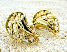 Vintage Gold Earrings Clip Ons Costume by VikisVarietyCraft