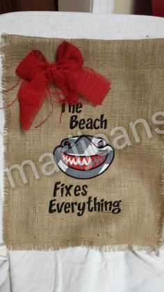 Burlap Garden Flag, The Beach Fixes Everything Shark by Marijeans on Etsy
