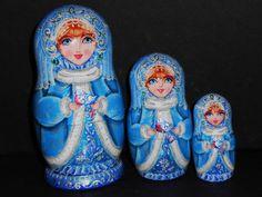 Snow Maiden  Author's dolls nesting matryoshka by Artworkshop1, $42.00