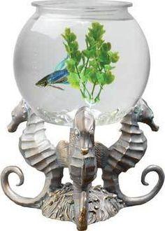 Betta Tank 1 gallon LED Lighting Seahorse Design Decorative Base