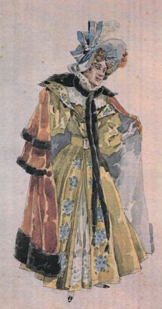 Costume sketch for Musetta. La Bohéme. La Bohéme. Première february 1, 1896 at Teatro Regio, Turin.