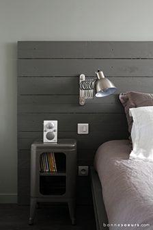 34 Trendy Bedroom Grey Wood Lamps - Home Decor Gray Bedroom, Trendy Bedroom, Home Bedroom, Bedroom Decor, Bedroom Simple, Bedrooms, White Wooden Headboard, Wooden Headboards, Industrial Headboards